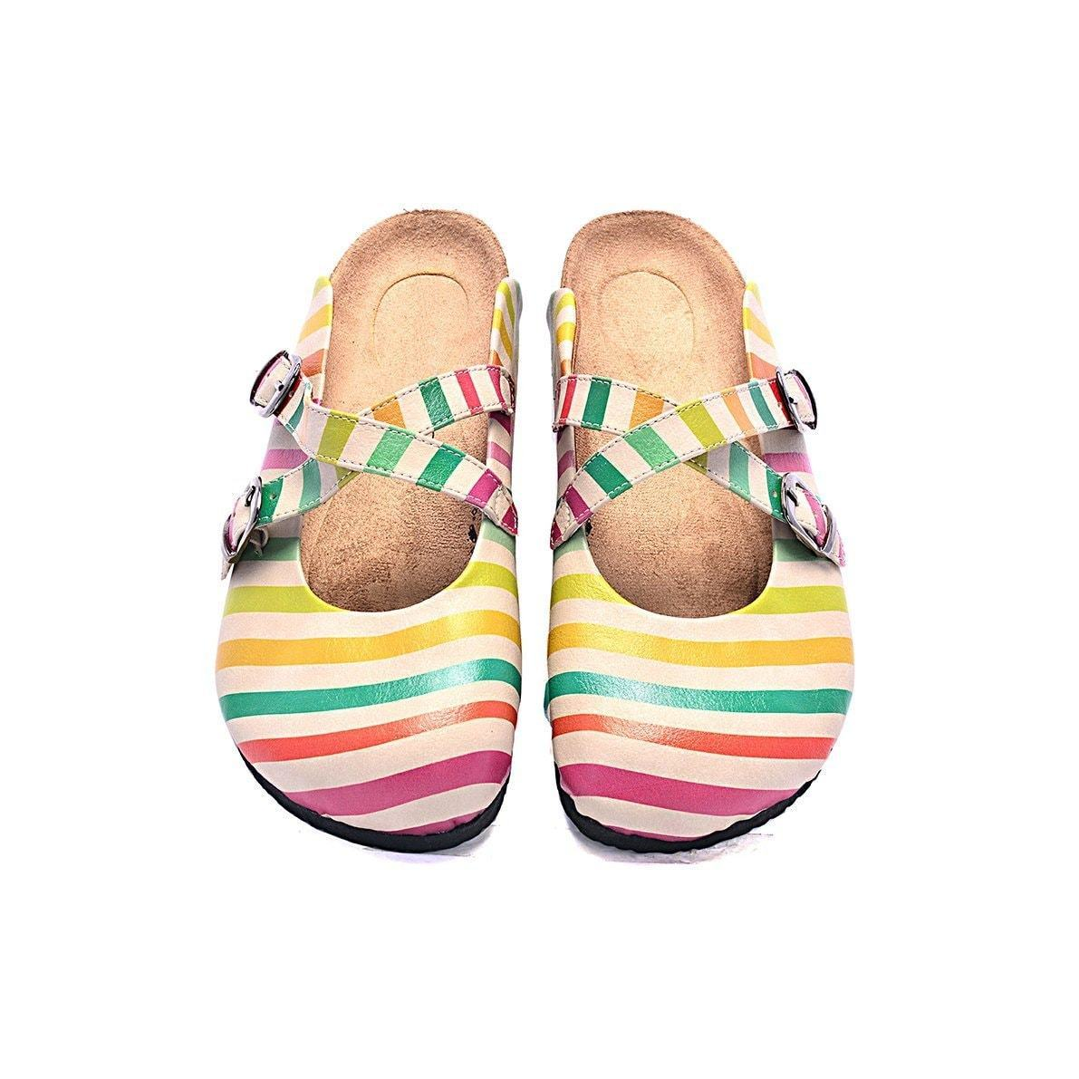 Pink & Yellow Stripe Clogs CAL102