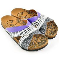 Purple & White Piano Cross-Strap Sandal CAL1102