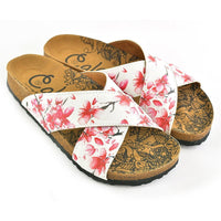 White & Red Floral Cross-Strap Sandal CAL1103 (737683374176)