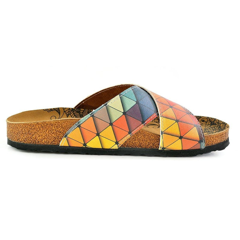 Orange & Blue Geometric Cross-Strap Sandal CAL1104 (737683341408)