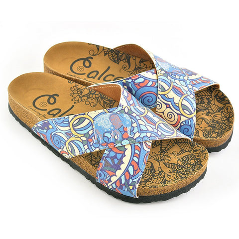 Blue & Yellow Elephant Cross-Strap Sandal CAL1108, Goby, CALCEO Sandal