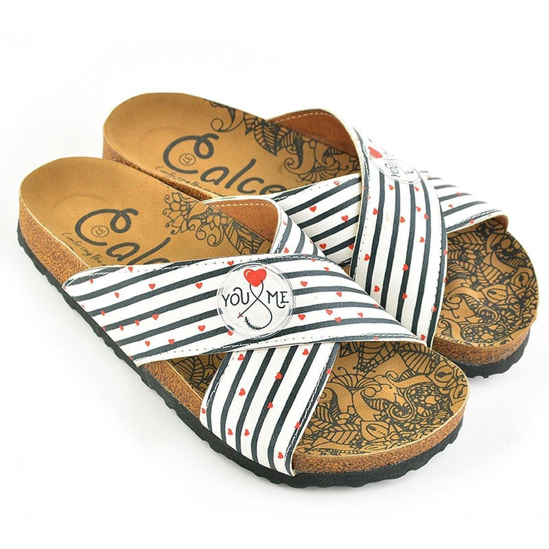 White & Red You & Me Cross-Strap Sandal CAL1109 (737683210336)