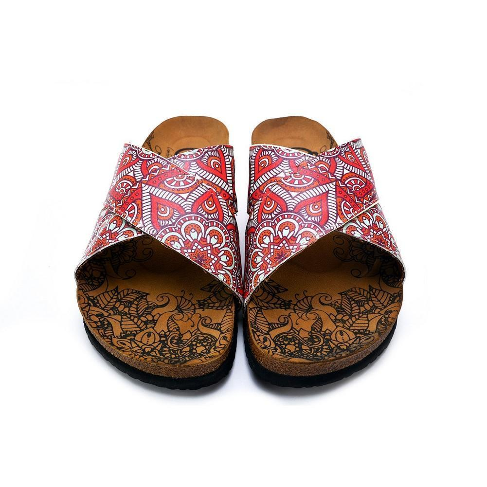 Orange, Red, White Flowers Patterned Sandal - CAL1111