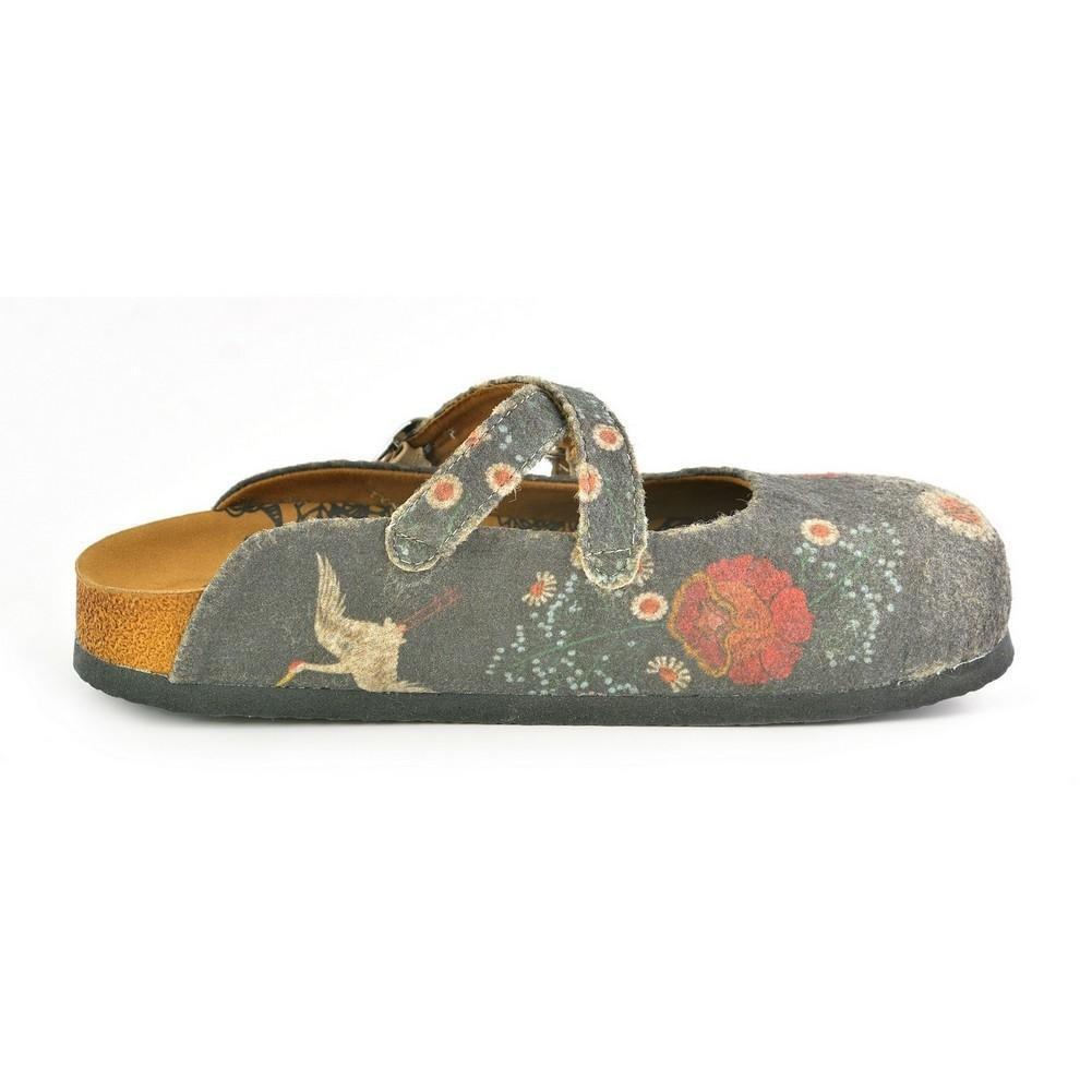 Charcoal Floral Crisscross Felted Mule CAL1201, Goby, CALCEO Sandal