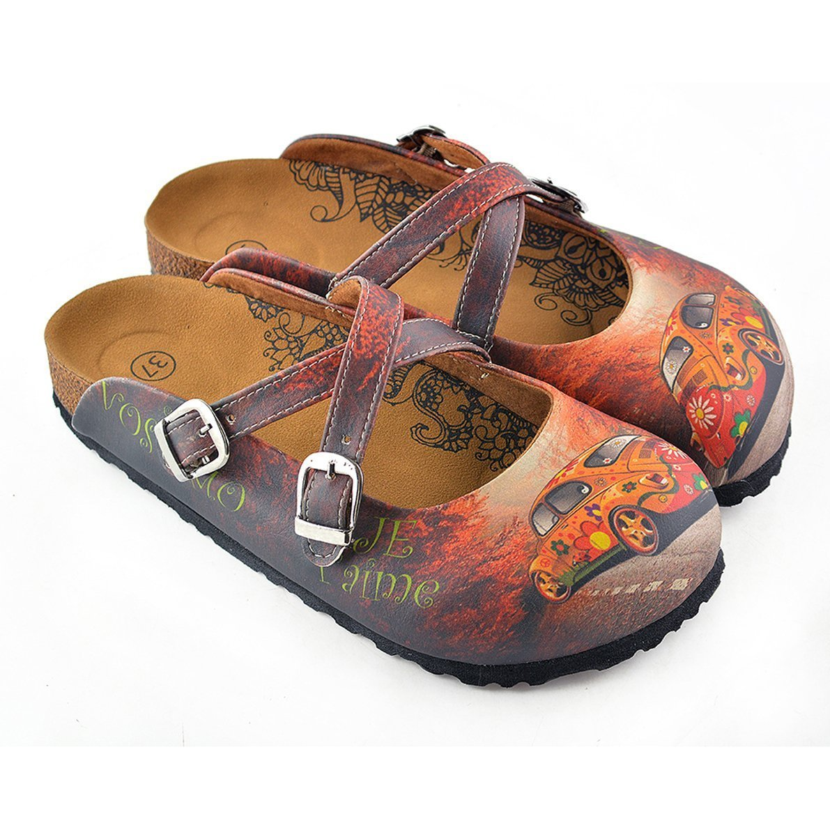 Red & Orange Floral Car Clogs CAL121