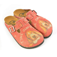 Colored Paw Patterned, Brown Dog and Take Supers Written Red Patterned Sandal - CAL1301