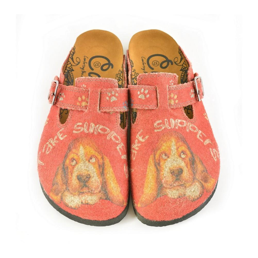 Colored Paw Patterned, Brown Dog and Take Supers Written Red Patterned Sandal - CAL1301, Goby, CALCEO Sandal