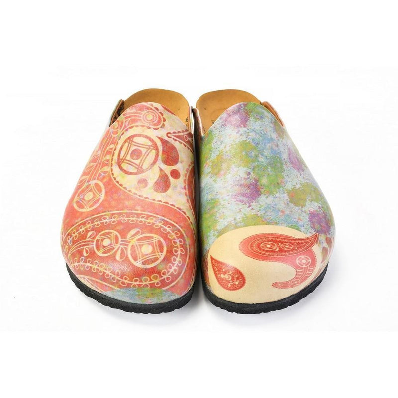 Red Abstract Paisley Mule CAL1405