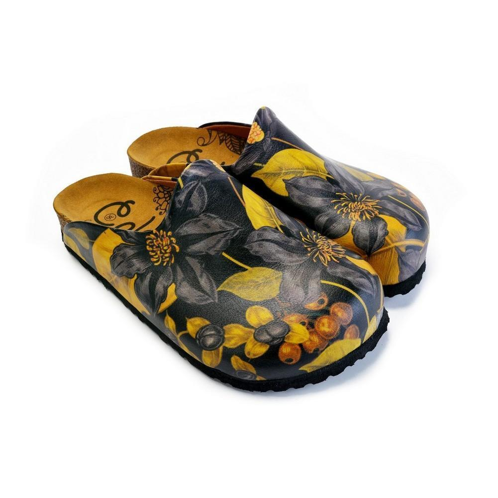 Black Flowers and Yellow Leaf Sandal - CAL1408, Goby, CALCEO Sandal