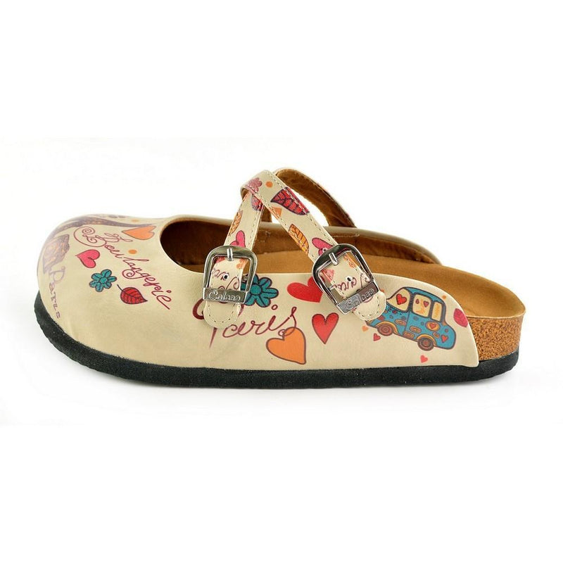 Cream & Pink Love Clogs CAL144 (737682882656)