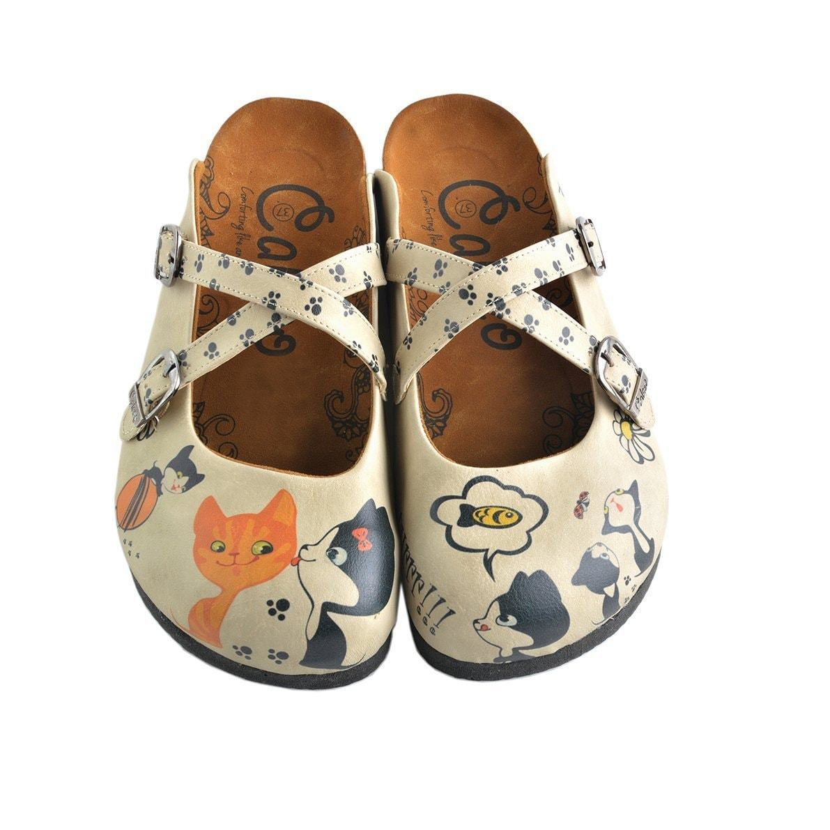 Off-White & Navy Cat Clogs CAL146