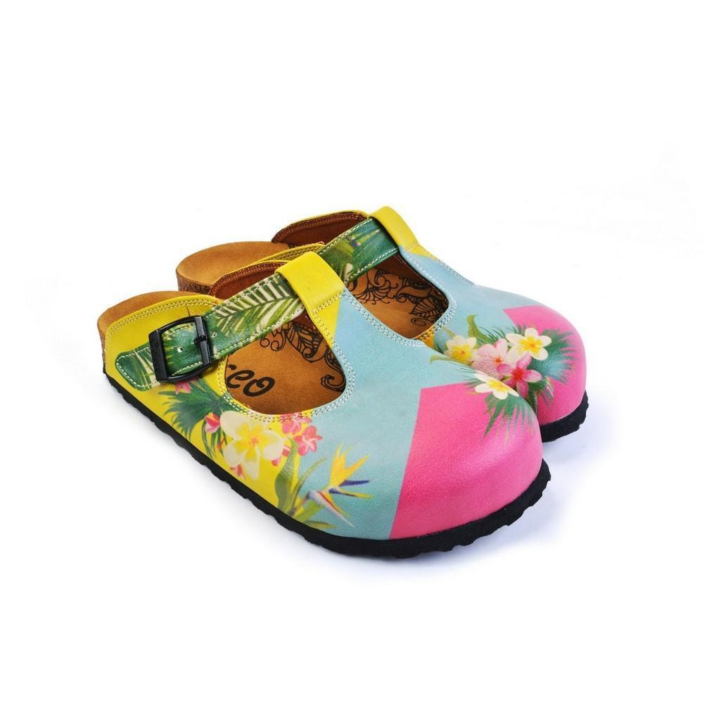 Blue & Pink Floral Color Block T-Strap Mule CAL1502, Goby, CALCEO Clogs