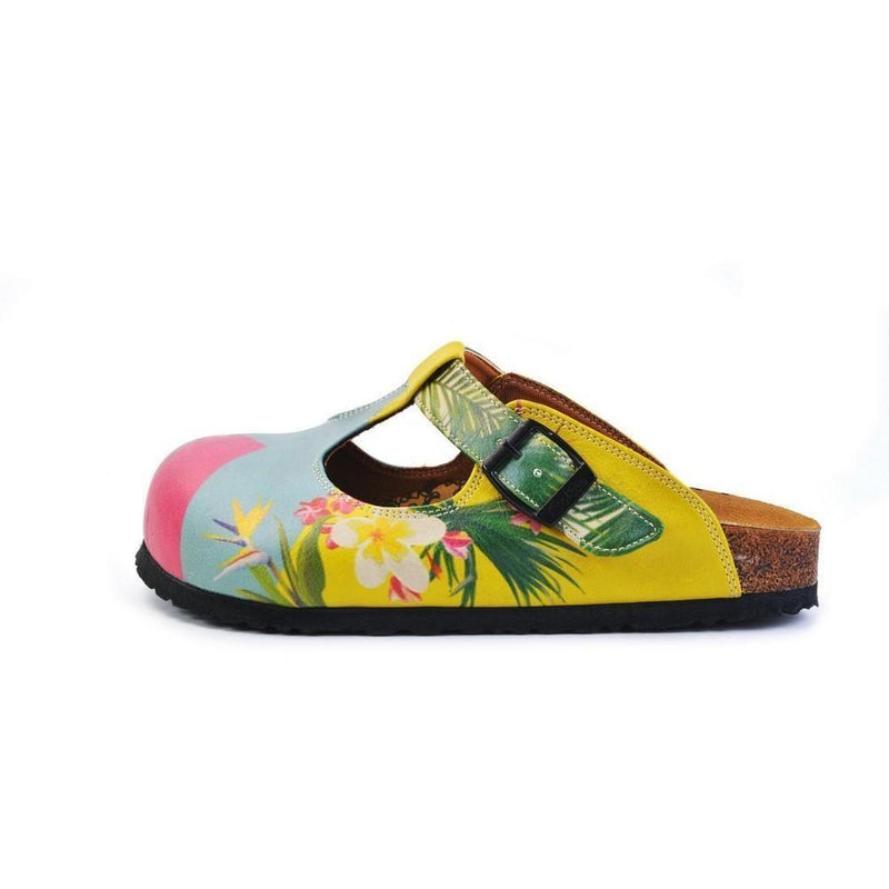 Blue & Pink Floral Color Block T-Strap Mule CAL1502