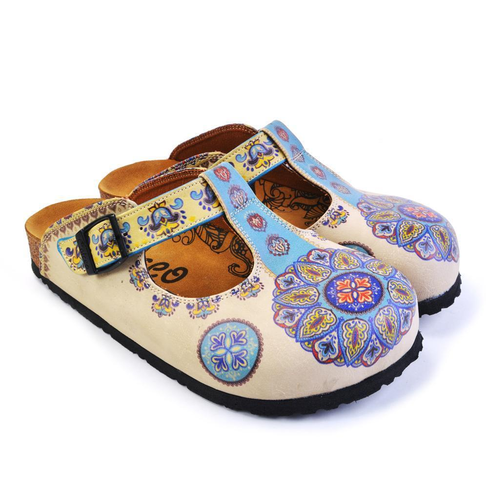 CALCEO Blue & Beige Pattern Clogs CAL1503