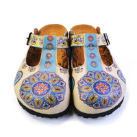 Blue & Beige Pattern Clogs CAL1503 (737755922528)
