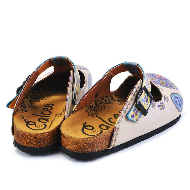 Blue & Beige Pattern Clogs CAL1503