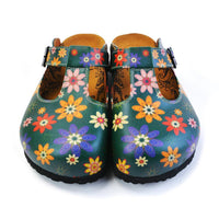 Green Floral Clogs CAL1504