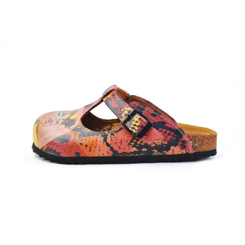 Red & Pink Abstract Woman T-Strap Mule CAL1506 (774933577824)