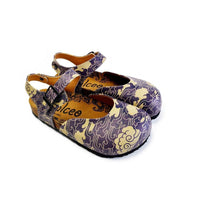 Dark Blue and Cream Windy Clouds Patterned Clogs - CAL1602