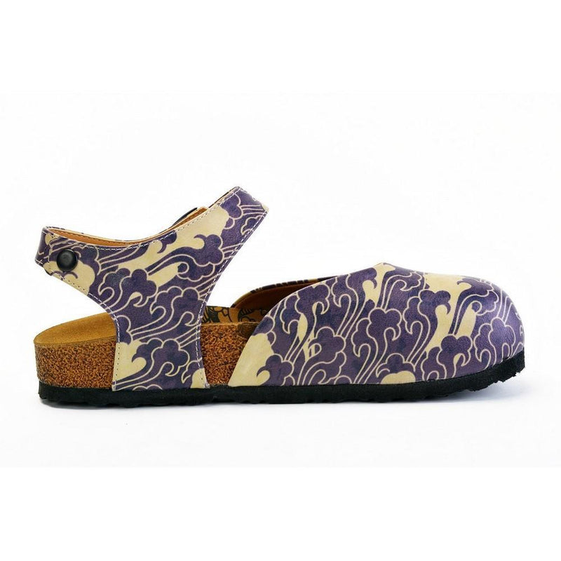Dark Blue and Cream Windy Clouds Patterned Clogs - CAL1602 (774941245536)