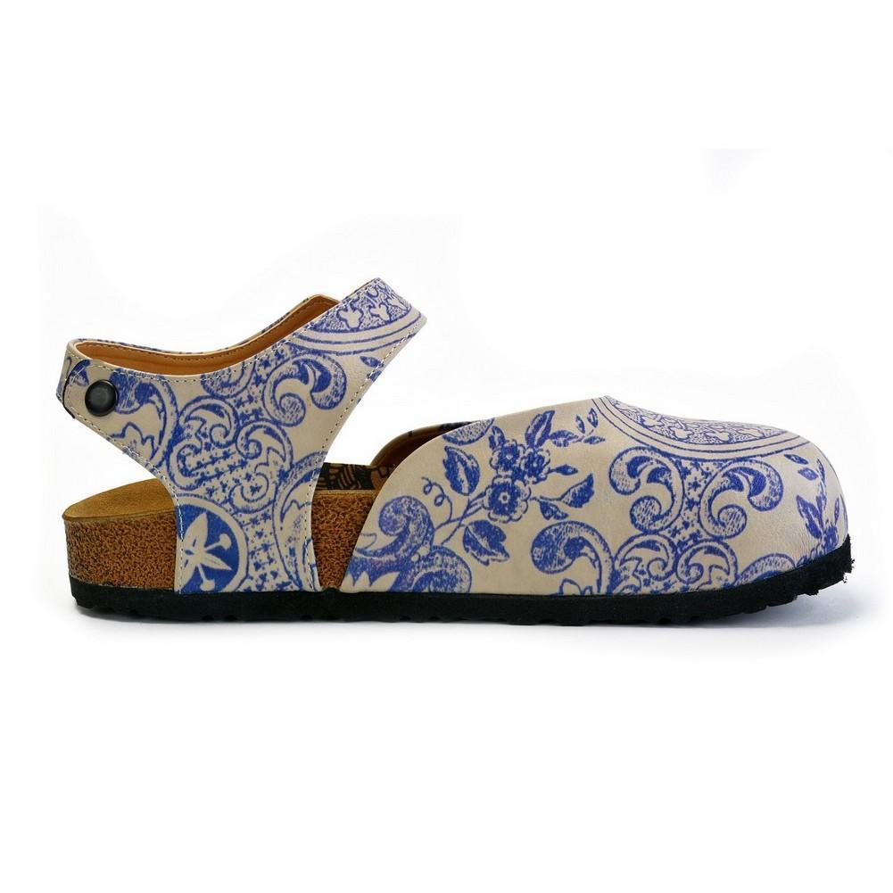 CALCEO Blue and Beige Flowers Patterned Clogs - CAL1603