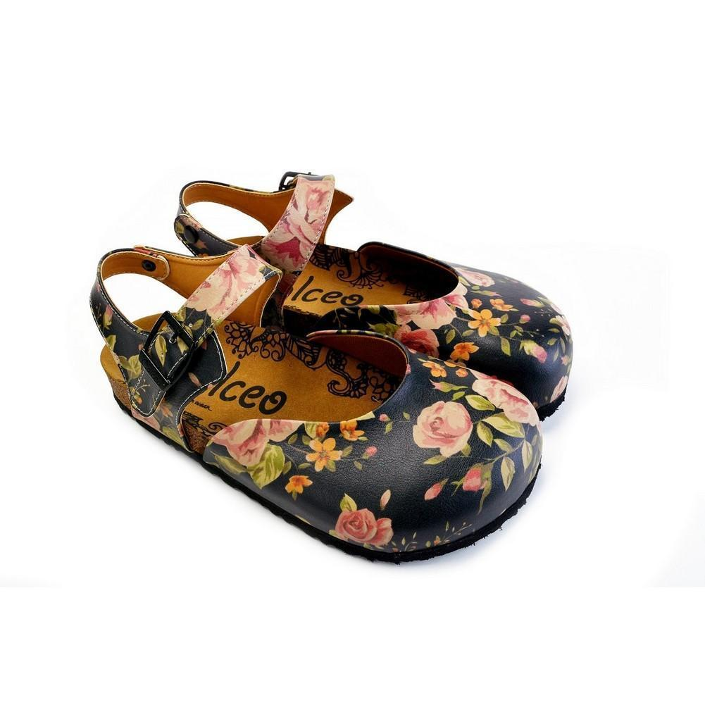 CALCEO Pink Roses and Orange Flowers, Green Leaf Patterned Clogs - CAL1604