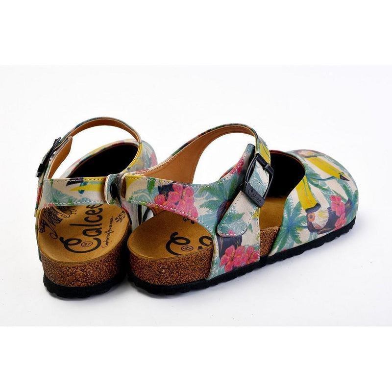 Pink, Blue, Beige Color and Pink Flowers, Yellow Toucan Patterned Clogs - CAL1608 (774941933664)