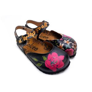 CALCEO Pink, White, Orange Flowers and Blue, Green Leaf Patterned Clogs - CAL1609