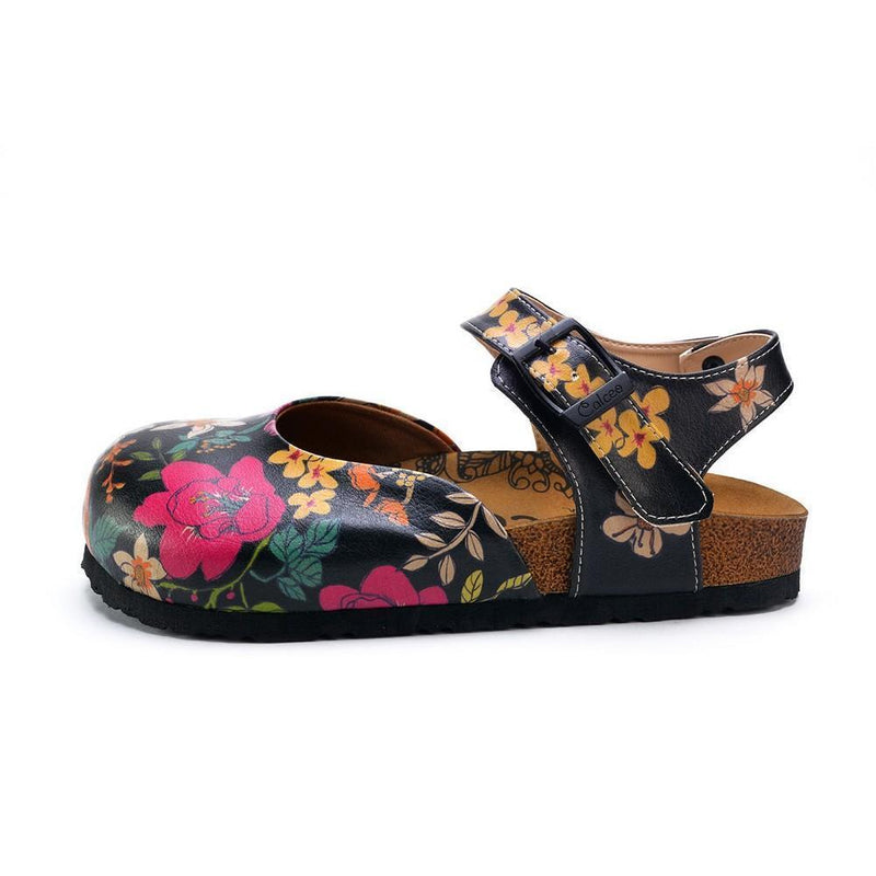 Pink, White, Orange Flowers and Blue, Green Leaf Patterned Clogs - CAL1609 (774942064736)