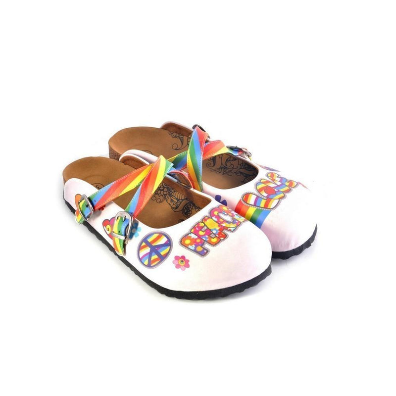 White and Rainbow, Colored Flowers and Peace Love Written Patterned Clogs - CAL162 (774942195808)