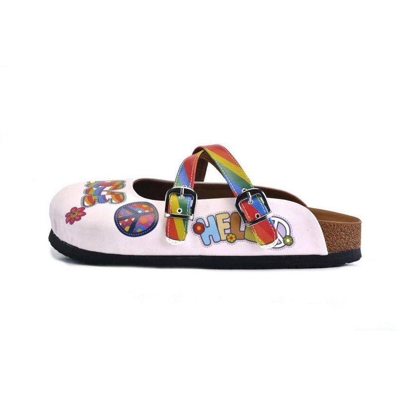 White and Rainbow, Colored Flowers and Peace Love Written Patterned Clogs - CAL162