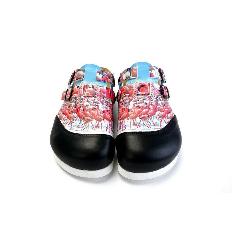 Black and White, Blue Storks Patterned Clogs - CAL1701 (774933708896)