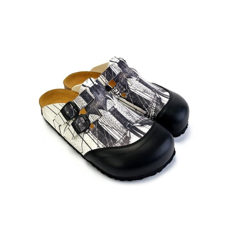 Black and White, Brooklyn Bridge Patterned Clogs - CAL1702 (774933839968)
