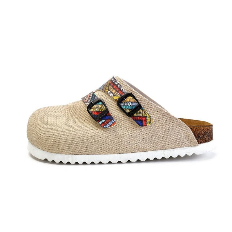 Beige and Colored Zigzag Patterned Clogs - CAL1802 (774934167648)