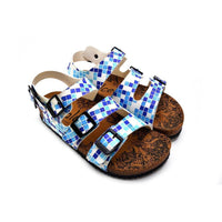 Blue, Dark Blue and Light Blue Color Square Patterned Clogs - CAL1903 (774934757472)