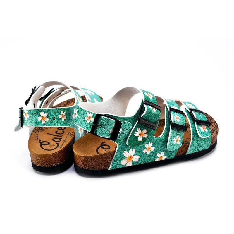 Green Light and White Flowers Patterned Clogs - CAL1904