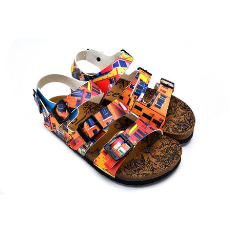 CALCEO Red, Orange, Yellow, Blue Colored Windows Patterned Clogs - CAL1905