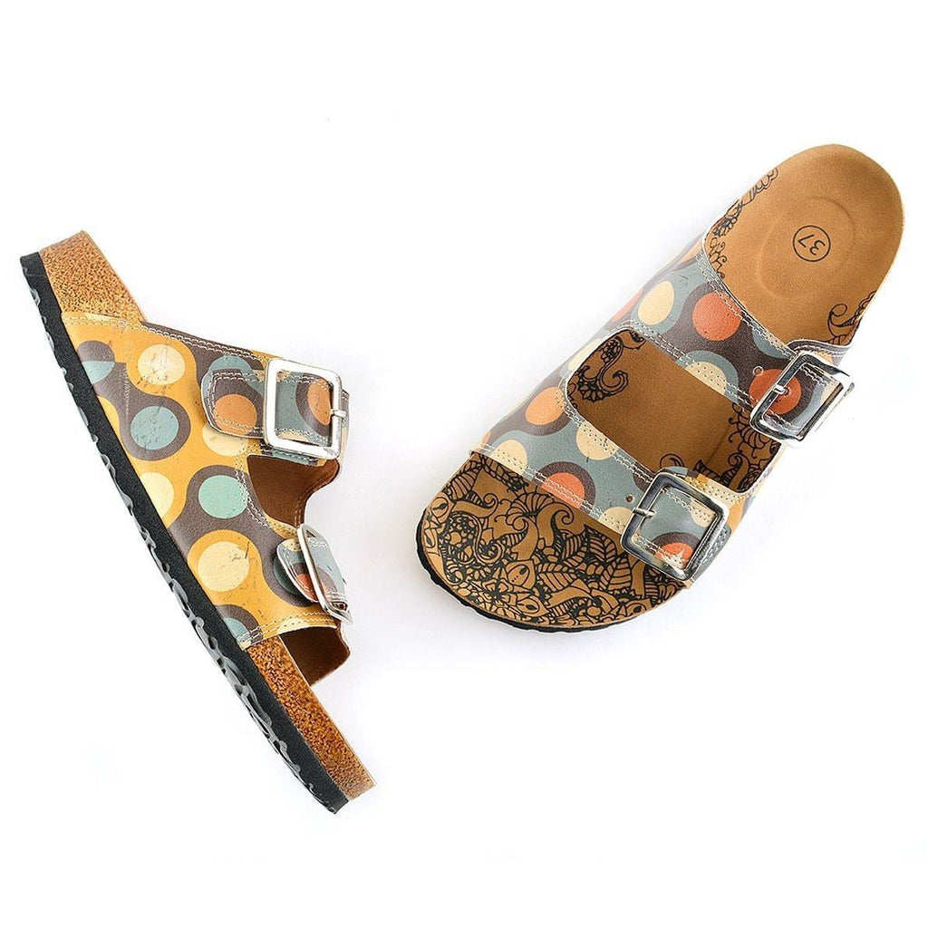 Blue & Orange Dot Two-Strap Buckle Sandal CAL201, Goby, CALCEO Sandal