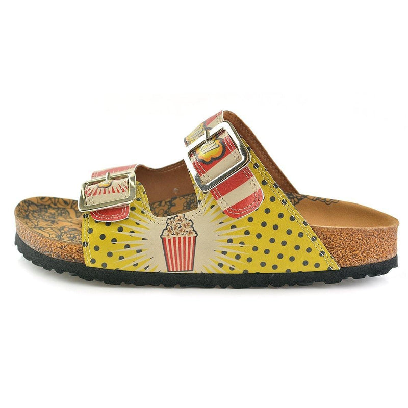 Red & Yellow Popcorn Two-Strap Buckle Sandal CAL203 (737682718816)