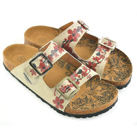 Cream & Red Floral Two-Strap Buckle Sandal CAL207