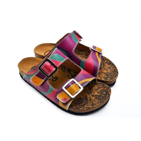 Purple, Green, Orange Color Wavy Strip Patterned Sandal - CAL211