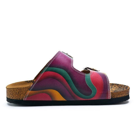CALCEO Purple, Green, Orange Color Wavy Strip Patterned Sandal - CAL211