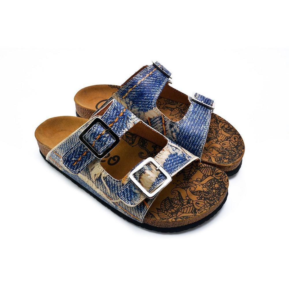 Blue and Cream Jeans Patterned Sandal - CAL212, Goby, CALCEO Sandal