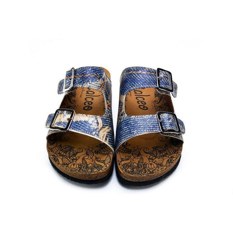 CALCEO Blue and Cream Jeans Patterned Sandal - CAL212