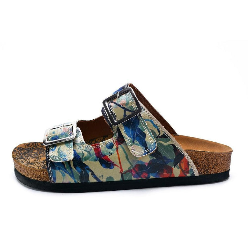 Blue, Green and Colored Flowers Patterned Sandal - CAL213 (774942621792)