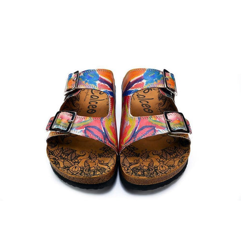 Red and Blue Oil Color Patterned Sandal - CAL214