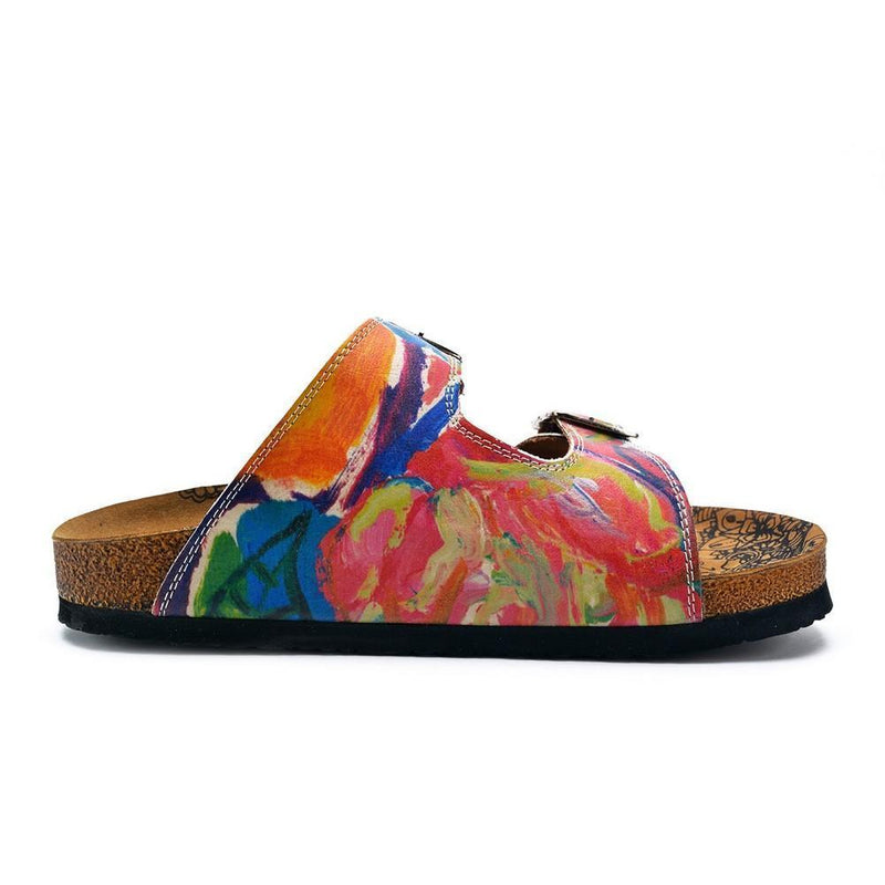 Red and Blue Oil Color Patterned Sandal - CAL214 (774942752864)