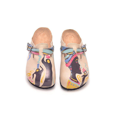 Cream African Queen Clogs CAL306 - Goby CALCEO Clogs