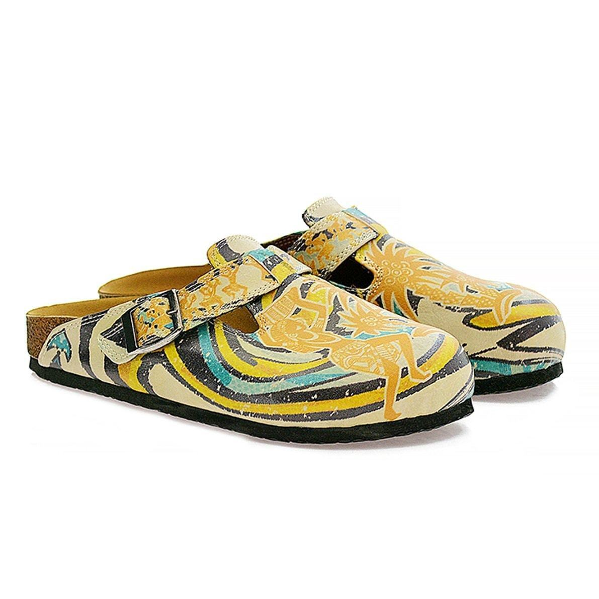 CALCEO Yellow Tropical Swirl Clogs CAL314