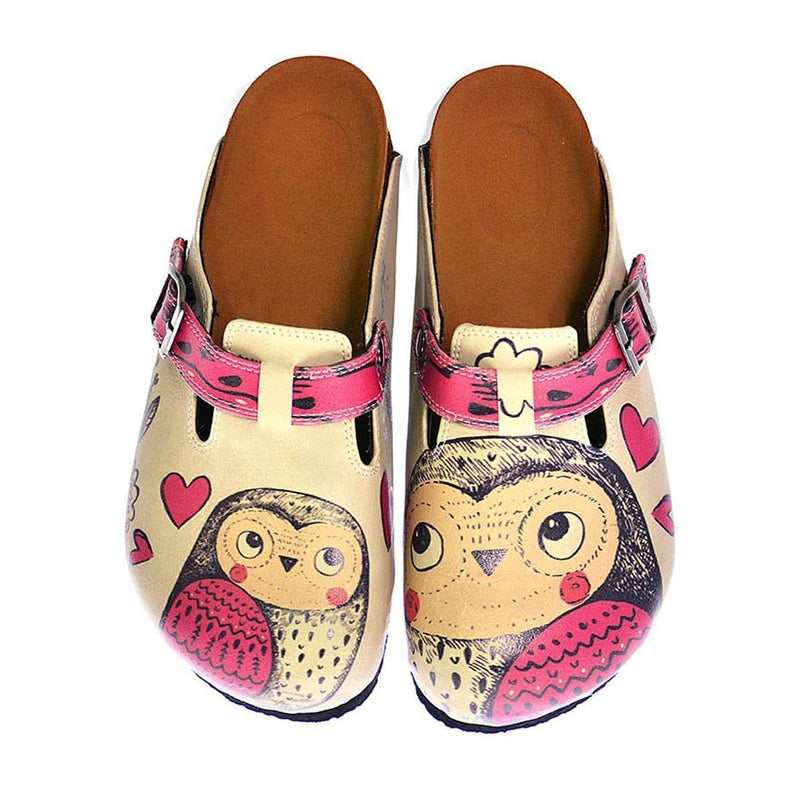 Cream & Pink Love Owls Clogs CAL316 (737681899616)